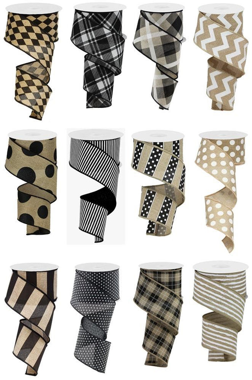 "Black, White, and Tan 2.5"" x 10 Yard Ribbon 12 Pack Assortment-Mels Crafty Mojo LLC"