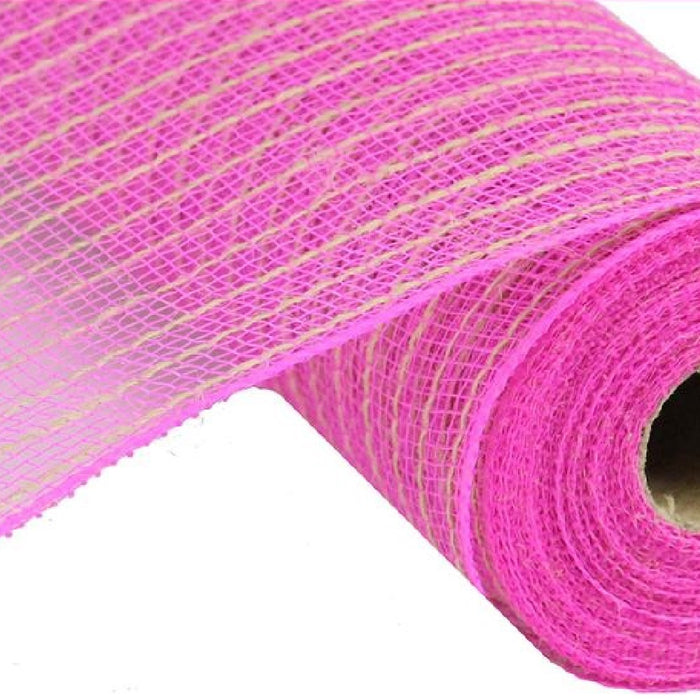 "Poly Jute Mesh - Deep Pink with Thin Natural Stripe - 10.5"" X 10 YD-Mels Crafty Mojo LLC"