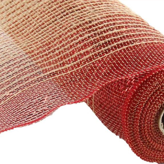 "Poly Jute Mesh - Ombre - Natural with Red Foil - 10.5"" X 10 YD-Mels Crafty Mojo LLC"