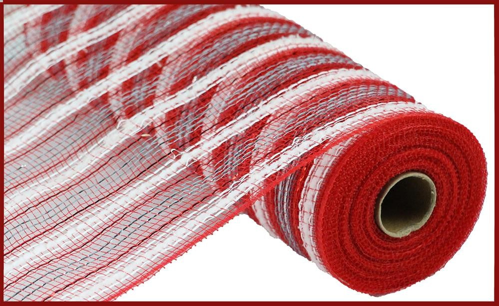 "Poly Deco Mesh - Metallic Stripe Snowdrift - Red/White/Silver - 10.5"" X 10 YD"