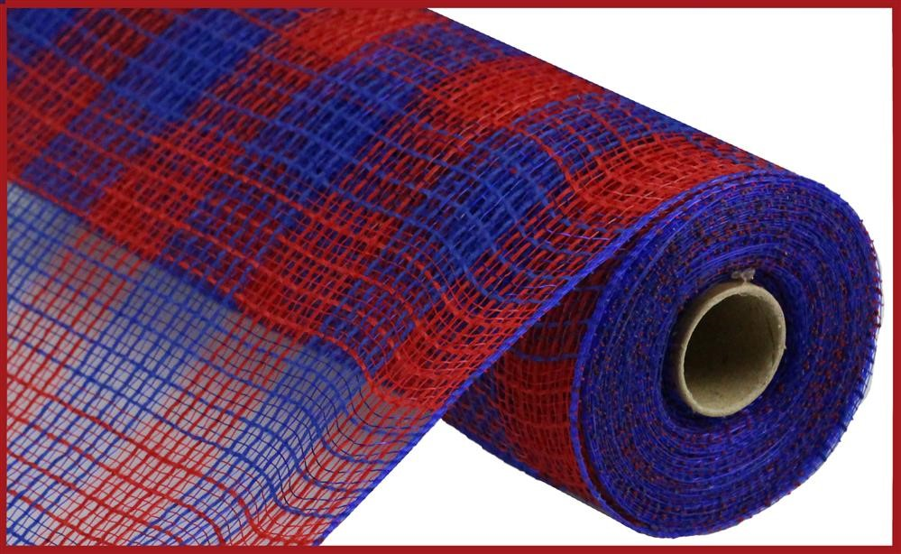 "Check Fabric Mesh - Red/Royal Blue Small Check - 10.5"" X 10YD"