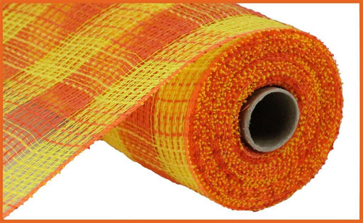 "Check Fabric Mesh - Yellow/Orange Small Check - 10.5"" X 10YD-Mels Crafty Mojo LLC"