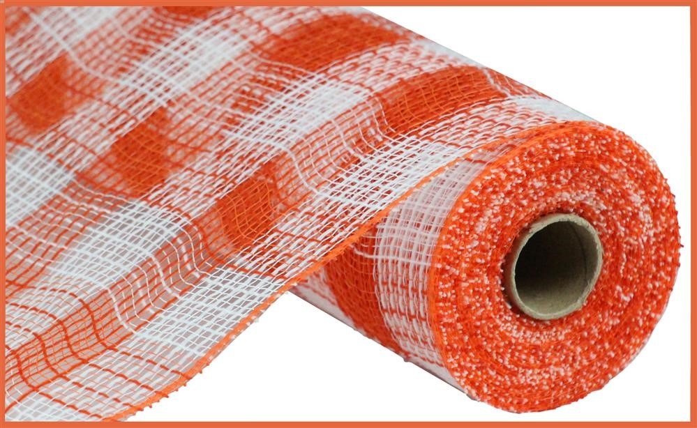 "Check Fabric Mesh - Orange/White Small Check - 10.5"" X 10YD-Mels Crafty Mojo LLC"