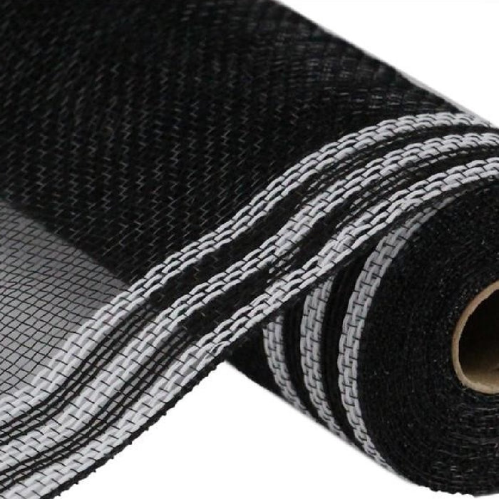 "POLY/FAUX JUTE MESH - BORDER STRIPE - Black/White - 10.5"" X 10 YD-Mels Crafty Mojo LLC"