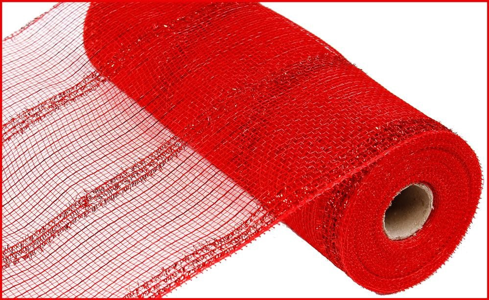 "Metallic Tinsel Stripe Deco Mesh - Red - 10"" X 10 YD-Mels Crafty Mojo LLC"