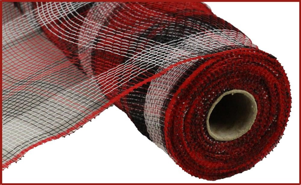 "Plaid Poly Deco Mesh - Black/White/Red  - 10"" X 10 YD"