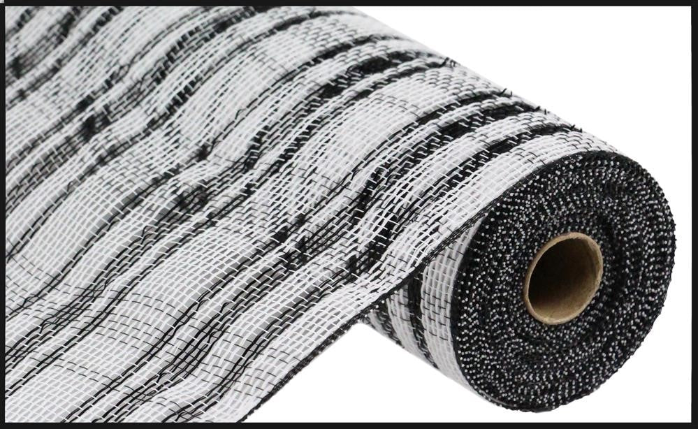 "Cotton/Poly Check Mesh with Foil - Black/White - 10.5"" X 10YD"
