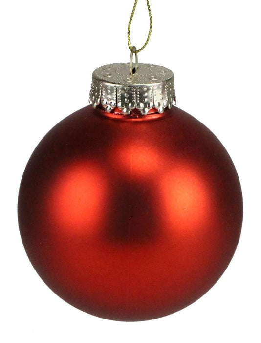 Smooth Ball Ornament (Set of 6) -  Matte Red - 3""