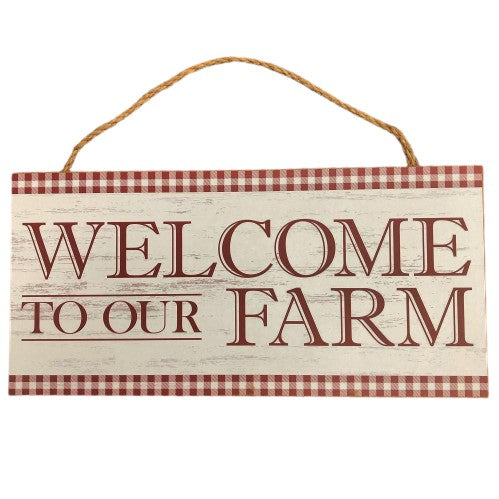"Welcome to Our Farm Sign - Barn Red-Brown/White - 12.5""L X 6""H"