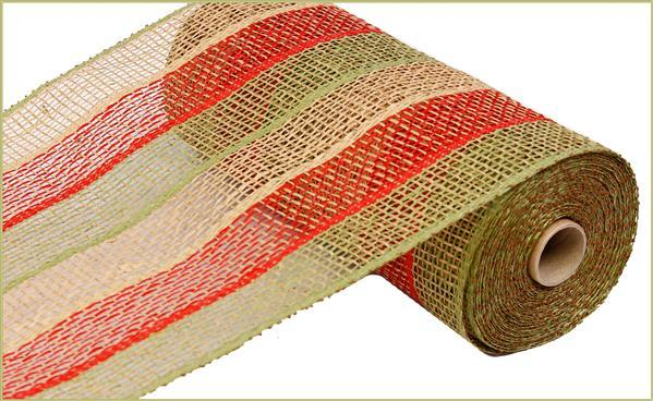 "Poly Burlap Mesh - Stripe - Honey Brown/Red/Olive - 10"" X 10 yards - Mels Crafty Mojo LLC"