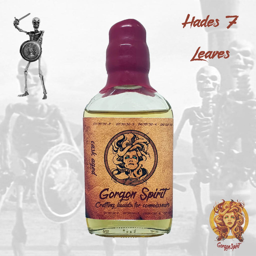 Gorgon Spirit - Hades 7 Leaves - 100ml Waxed Glass Bottle - Courvoisier V.S.O.P, 7 Leaves Tobacco Vanilla Custard, Cheesecake, Toffee Biscuit