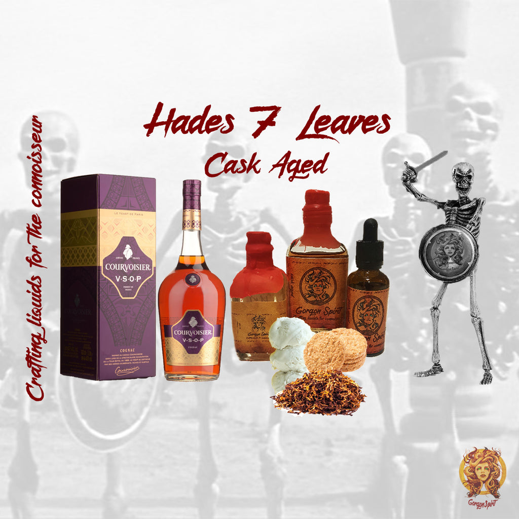Gorgon Spirit - Hades 7 Leaves - Courvoisier V.S.O.P, 7 Leaves Tobacco Vanilla Custard, Cheesecake, Toffee Biscuit