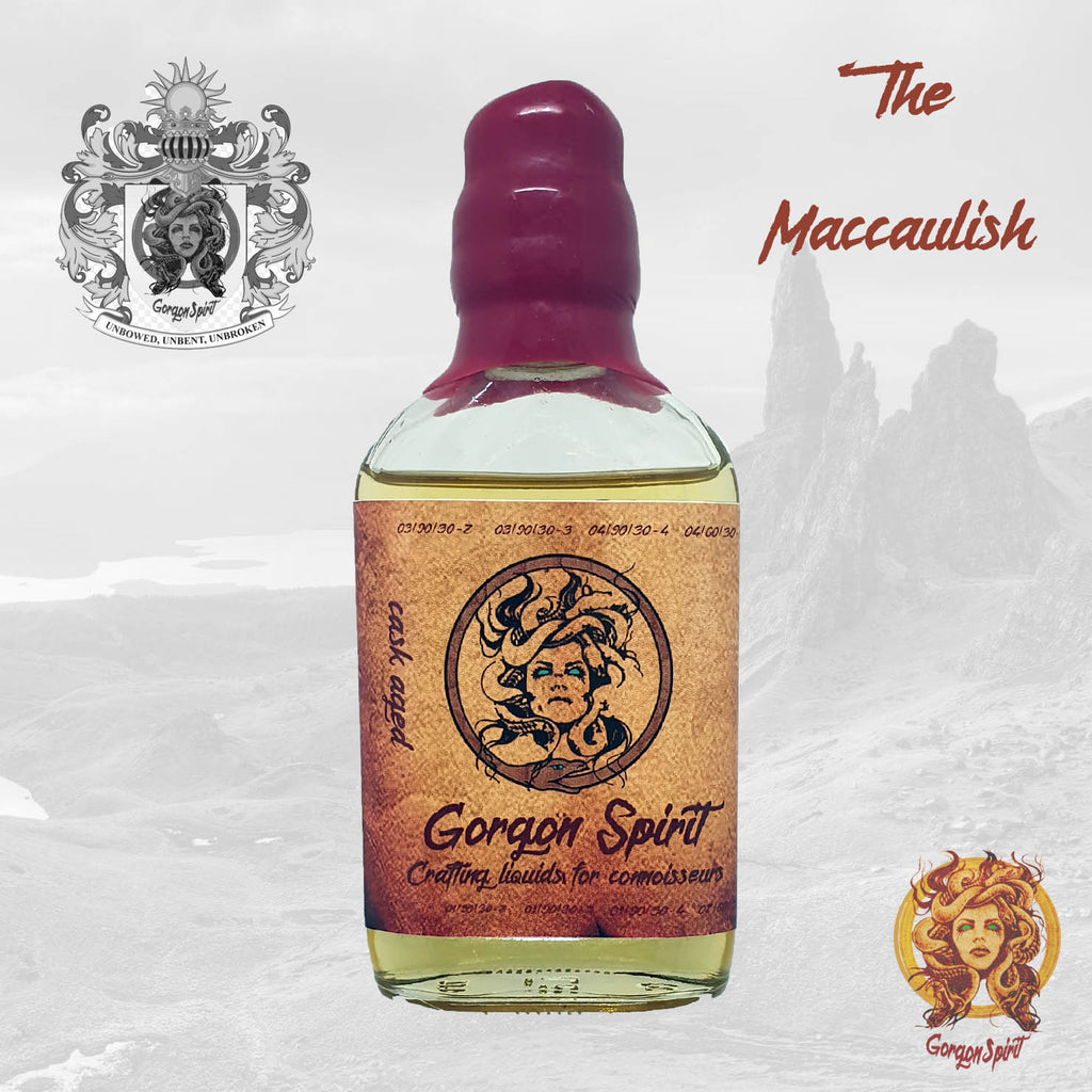 Gorgon Spirit - The Maccaulish - 100ml Waxed Glass Bottle - Glenmorange, Apple, Caramel, Biscuit, Cream Undertones