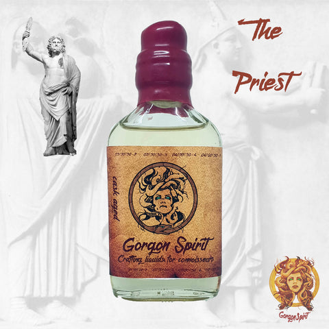 Gorgon Spirit - The Priest - 100ml Waxed Glass Bottle - Three Barrels V.S.O.P, Mascappo Cherry, Sweet Raspberry, Pie Crust, Almond Cream