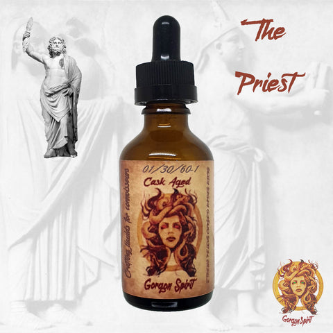 Gorgon Spirit - The Priest - 50ml Glass Bottle - Three Barrels V.S.O.P, Mascappo Cherry, Sweet Raspberry, Pie Crust, Almond Cream