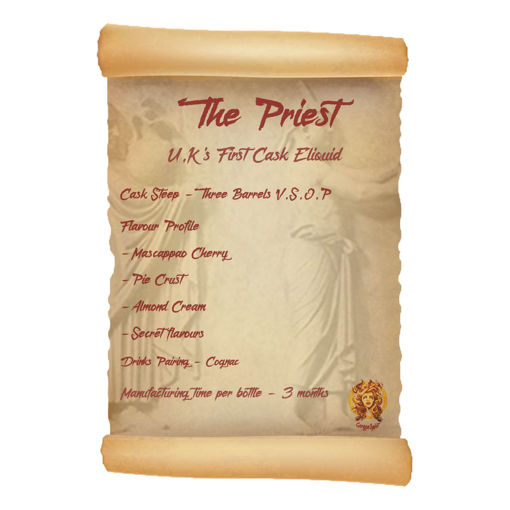 60ml Shortfill Bottle - The Priest - Three Barrels V.S.O.P, Mascappo Cherry, Sweet Raspberry, Pie Crust, Almond Cream