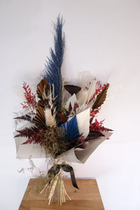 Dried Bouquet with Pops of Colour, Pampas, Palm Fans, Lotus Pods, Fern, and Dried Ruscus