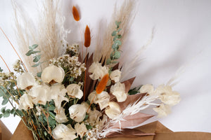Neutral Dried Flower Bouquet with Bougainvillea, Eucalyptus, Pampas Grass, Bunny Tails, Daisies, and Palm Fans