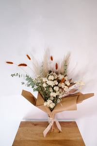 Neutral Toned Dried Floral Bouquet with Pampas, Eucalyptus, Bunny Tails and Bougainvillea