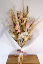 Load image into Gallery viewer, Soft Pale Tones Dried Floral Bouquet with Straw Flowwrs, Wheat, Lunaria, Oat Grass, Scabiosa Pods and Teasels
