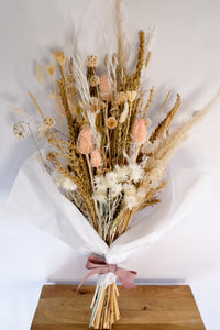 Soft Pale Tones Dried Floral Bouquet with Straw Flowwrs, Wheat, Lunaria, Oat Grass, Scabiosa Pods and Teasels