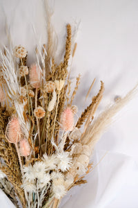 Neutral Tones Dried Fower Arrangement with Wheath, Straw Flower, Teasels, and Bunny Tails