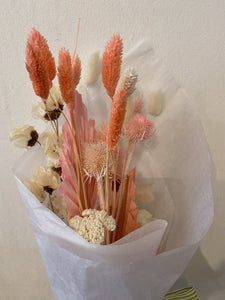 Small Dried Flower Bouquet with Bougainvillea, Bleached Yarrow, Teasels, and Bunny Tail Lagarus