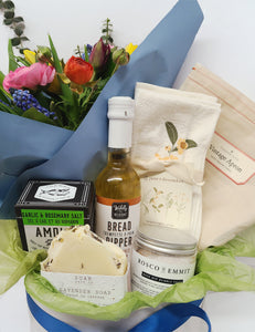 Culinary Gift Box and Fresh Flower Bouquet