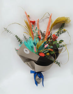 Colourful Dried Flower Bouquet with Pampas, Palm Fans, Eucalyptus, Euryngium, Yarrow, and Craspedia