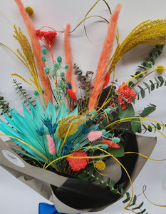 Colorful Dried Flower Bouquet With Eucalyptus, Pampas, Palm Fans, Billy Balls, and Bunny Tails