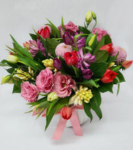 Load image into Gallery viewer, Large Spring Vase Arrangement with Lisianthus, Hyacinths, Tulips, and Chrysanthemums