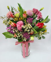Load image into Gallery viewer, Spring Vase Arrangement with Lisianthus, Wax Flower, Hyacinths, Tulips and Alstromeria