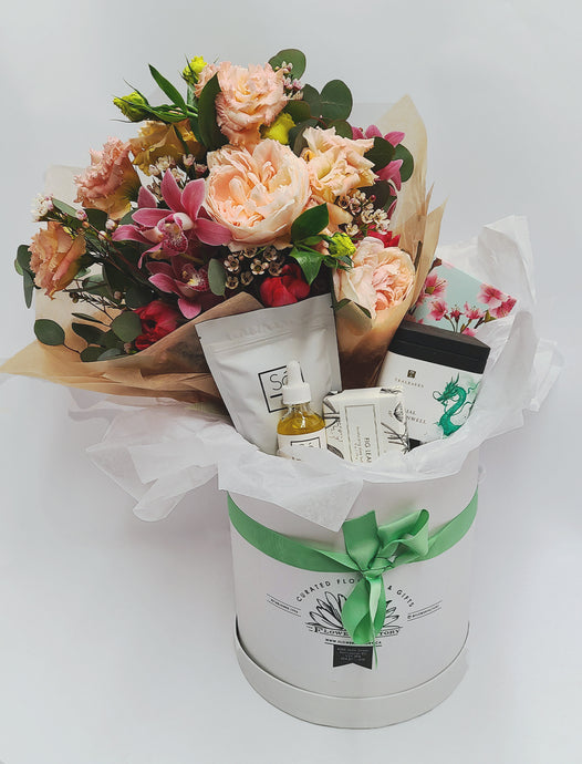 Small Gift Box With Fresh Flowers