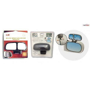 Front & back packing size of blind spot mirror, installation guide image for mirror