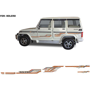 Car Side Decal Full Body Sticker Graphics For Mahindra Bolero All Models, Both Sides, 0209 Model