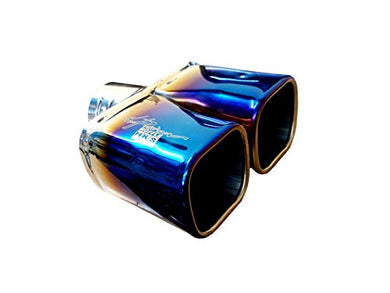 Automaze Universal Fits Car Straight Burnt Square Shaped Twin Exhaust Double Tail HKS Muffler Tip Pipe 60mm (Model-6177)