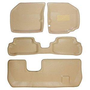 Automaze 3D/4D Complete Car Floor/Foot Mats with Third Row, Trunk Mat for Honda Mobilio | Tray Fit, Beige Colour | 6 Months Warranty