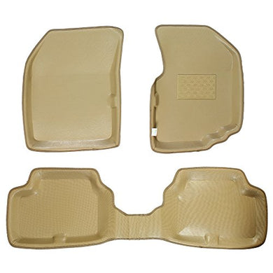 Automaze 3D/4D Car Floor/Foot Mats for Tata Tiago | Bucket Tray Fit, Laminated, Beige Colour | 6 Months Warranty