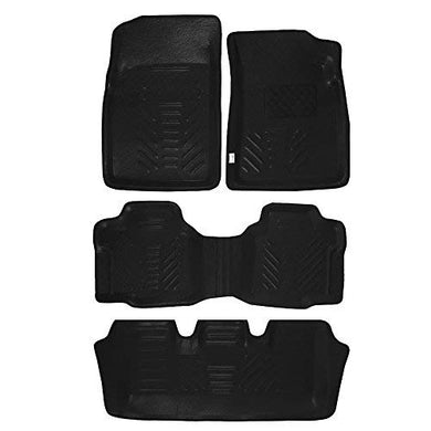 Automaze 3D/4D Car Floor/Foot Mats with Third Row for Toyota Innova Crysta Automatic Model | Tray Fit, Black Colour | Warranty