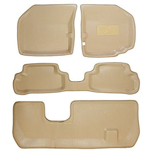 Automaze 3D/4D Car Floor/Foot Mats with Third Row for Toyota Innova Crysta Manual Model | Tray Fit, Beige Colour | Warranty