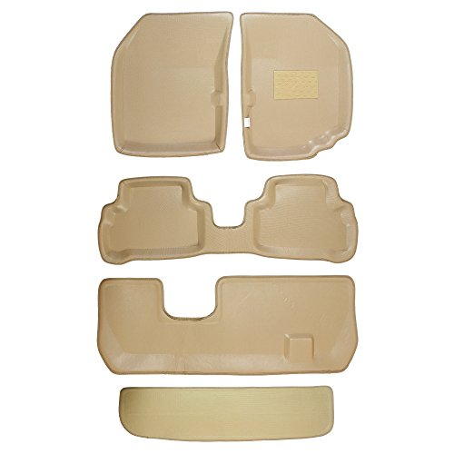 Automaze 3D/4D Complete Car Floor/Foot Mats with Third Row, Trunk Mat for Toyota Fortuner 2016+ | Tray Fit, Beige Colour | 6 Months Warranty