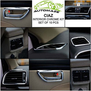 Automaze Interior Decoration Chrome Kit For Ciaz All Model, 10 Pc Set, Ciaz Car Accessories