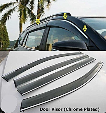 Automaze Side Window Deflector Chrome Rain Door Visor for Hyundai Creta 2020+ Models, 4 Pc Set