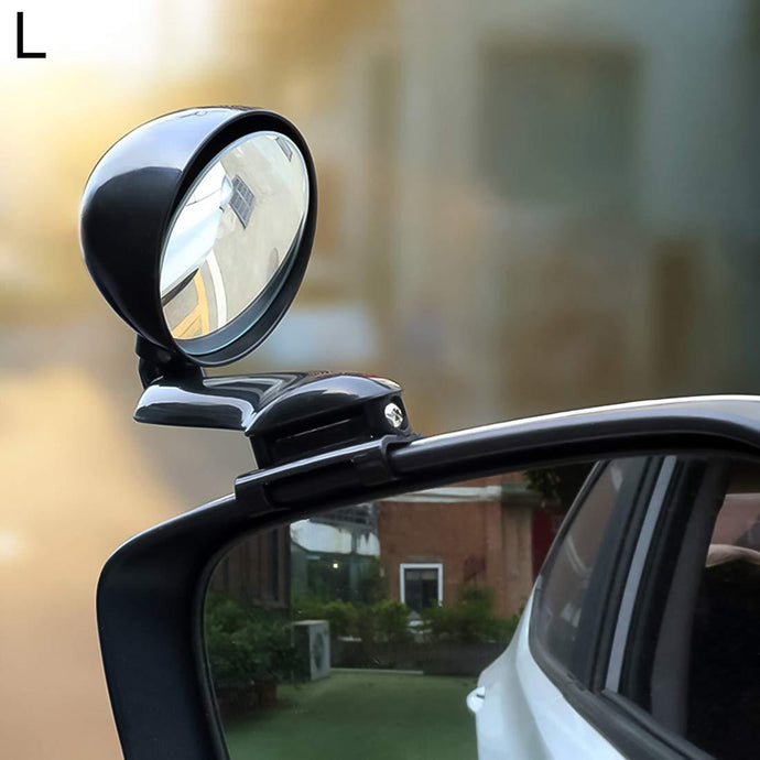 Adjustable blind spot mirror on car side mirror, white car & black spot mirror