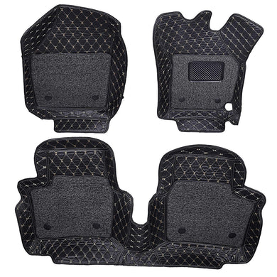 Set of 3 pcs of 7d mats for renault triber in black colour