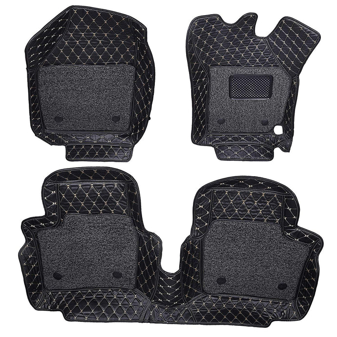 Set of 3 pcs of 7d mats for hyundai verna in black colour