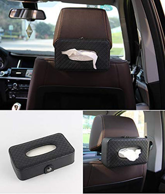 Car Armrest Headrest Back Seat Tissue Napkin Box Holder for car, Black, Headrest/Armrest Type