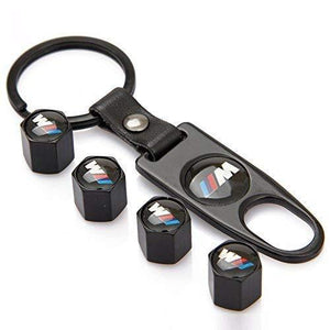 Four Tyre valve cap with keychain in black colour