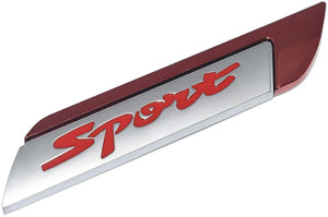 Sports Metal Logo in red with silver colour