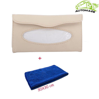 Beige Tissue Box with blue microfiber